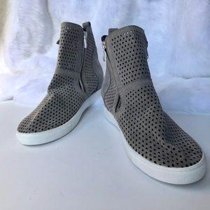 Shoes - NWOTGray Lasercut Nabuck-like Faux Leather Booties
